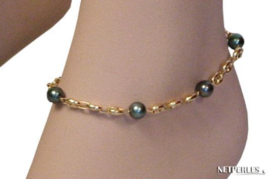 bracelet de cheville de perles de tahiti et or