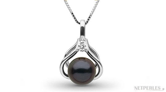 Pendentif en Or Gris avec une perle d'Akoya noire 6,5-7 mm AAA