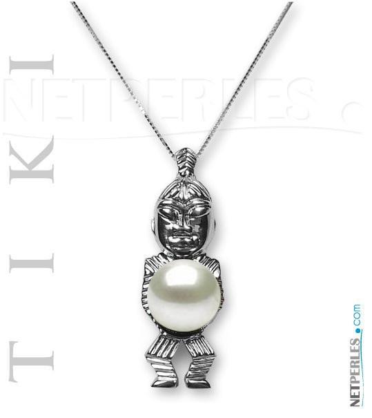 Pendentif Tiki en Argent 925 avec perle de culture d'eau douce DOUCEHADAMA