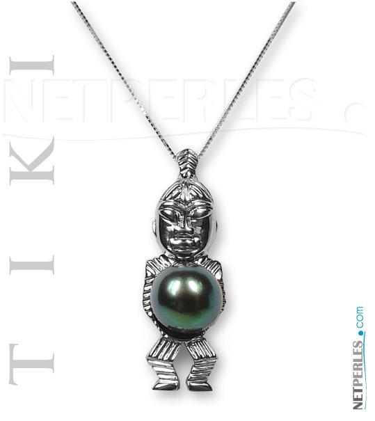 Pendentif TIKI en Argent 925 avec perle de Tahiti