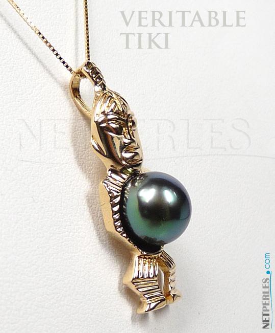 Pendentif TIKI Or Jaune avec Perle de Tahiti