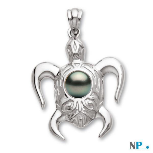 Pendentif tortue Or Gris (rhodié)  avec perle noire de tahiti