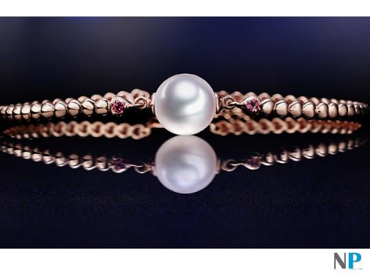 Bracelet en or 18k avec pierres tourmalines rouges et perle de culture d'Akoya