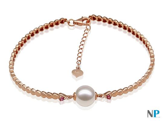 Bracelet en or 18k avec pierres tourmalines rouges et perle d'Akoya
