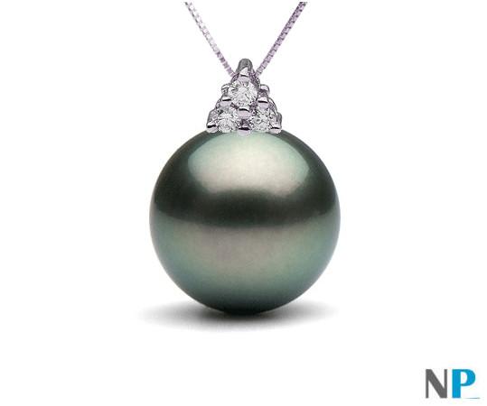 Pendentif en Argent 925  et Diamants avec Perle de Tahiti