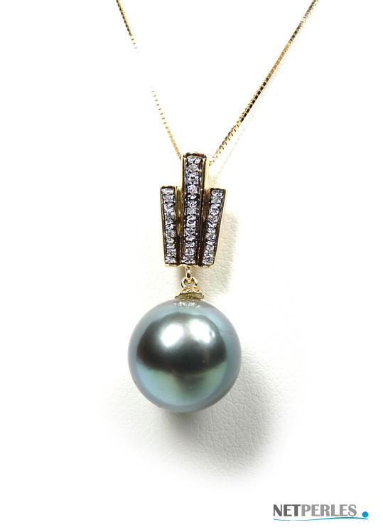 Pendentif Or 18 carats avec diamants et perle de culture de tahiti, perle noire
