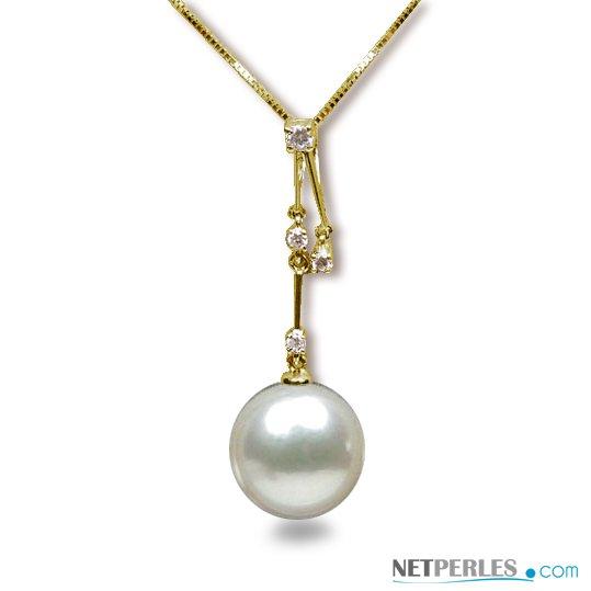 Pendentif Or jaune et diamants avec perle d'australie blanche