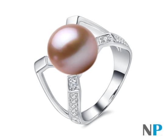 Bague en Argent 925 avec perle de culture d'Eau Douce lavande