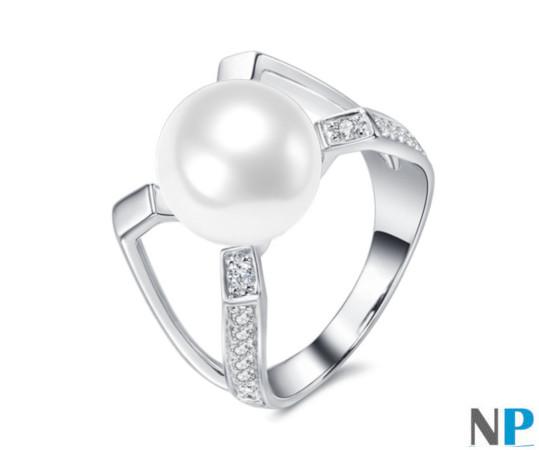 Bague en Argent 925 avec perle de culture d'Eau Douce blanche
