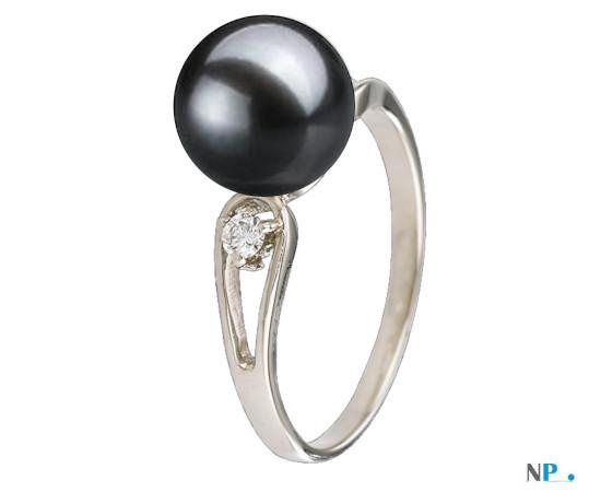 Bague en Argent avec diamants perle de culture d'eau douce noire