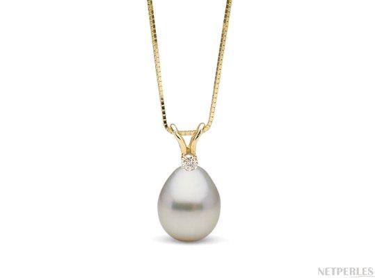 Pendentif Vivian en Or Jaune avec perle goutte blanche d'Australie