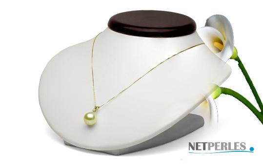 Pendentif OR 14 carats et diamant avec perle doree d'australie qualité AAA