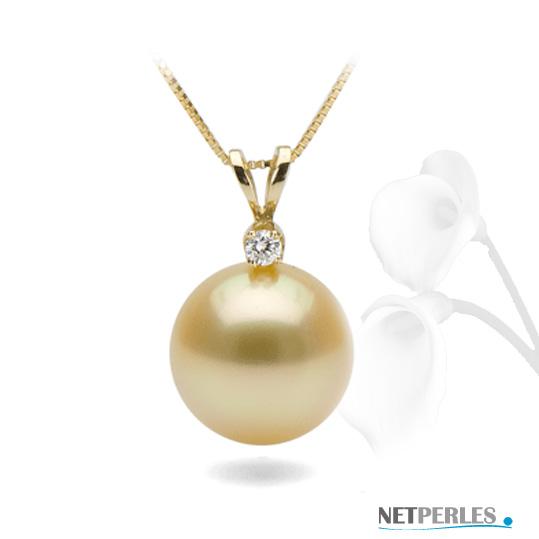 Pendentif or 14k avec perle doree d'australie qualité AAA à partir de 9 mm à 15 mm