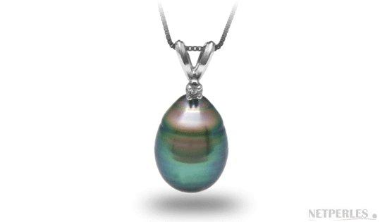 Pendentif Vivian avec perle de culture de Tahiti baroque