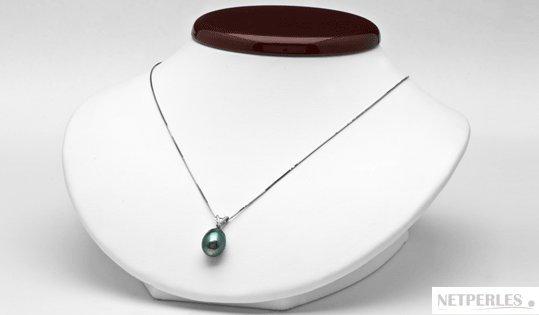 Pendentif Vivian diamant et perle de culture de Tahiti baroque