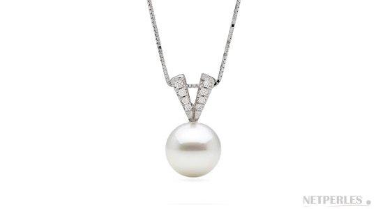 Pendentif en Argent avec diamants et perle de culture d'Akoya blanche AAA