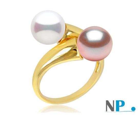 Bague You&Me avec uneperle blanche et une perle lavande