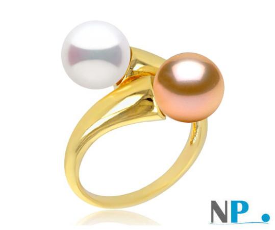 Bague You&Me en or 18k avec une perle blanche et une perle pêche