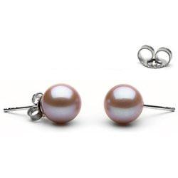 Paire de boucles d'Oreilles or 14k perles d'eau douce Lavande 8 à 9 mm AAA (rondes)