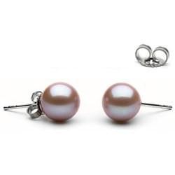Paire de boucles d'Oreilles Or 14k perles d'eau douce Lavande 9 à 10 mm AAA