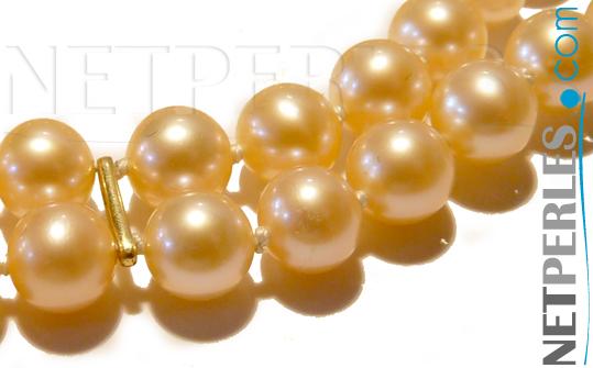 Perles d'eau douce couleur pêche
