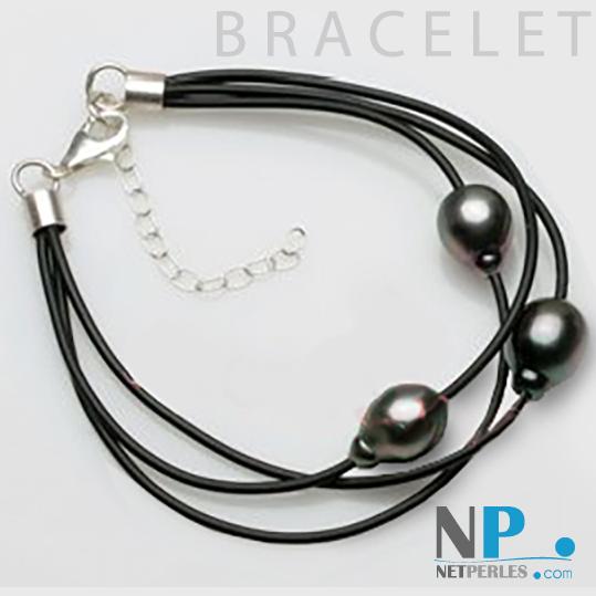 Bracelet de perles de culture de Tahiti Drop de 9 à 10 mm montées sur liens de cuir entrelacés.