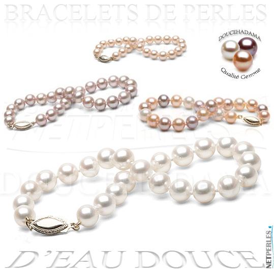 Bracelet de perles d'eau douce parfaites - perle d'eau douce - doucehadama-perles de culture d'eau douce