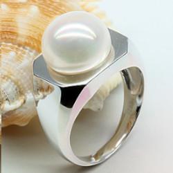 Bague Or 18k perle d'eau douce blanche 11-11,5 mm AA+ forme bouton