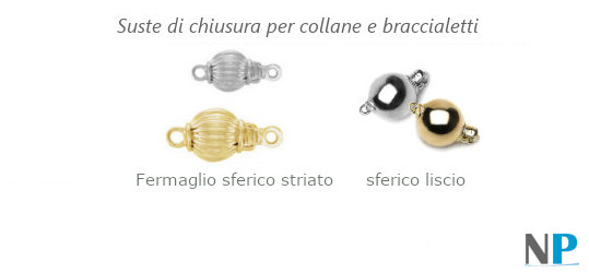 Fermagli di chiusura per collane in oro 14 carati o 18 carati, striati o lisci