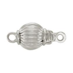 Fermoir rond 8 mm pour rang de perles, Or Gris 18k strié