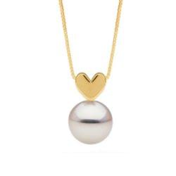 Pendentif coeur en Or 14k avec perle blanche d'eau douce qualité AAA