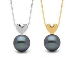Pendentif coeur en Or 14k avec perle Noire d'eau douce qualité AAA