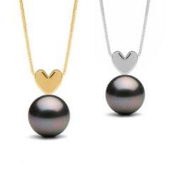 Pendentif coeur Or 14 carats et perle noire de Tahiti 8-9 mm Qualité AAA