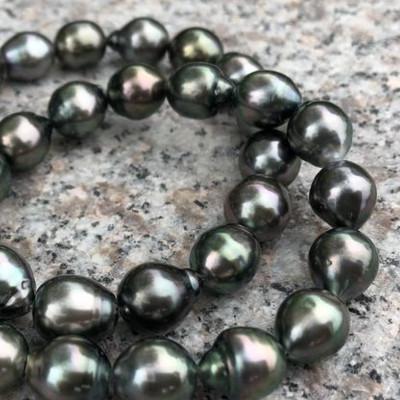"Real 9-10 mm NATUREL NOIR Tahiti Sud Mer Eau Douce Collier De Perles 17//20//24/"""