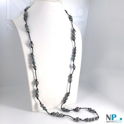 Long Collier de Perles Baroques et Cuir