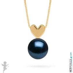 Pendentif coeur Or 14 carats avec perle d'Akoya noire qualité AAA