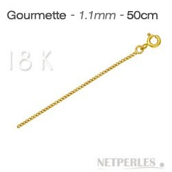 Chaine Maille Gourmette Or Jaune 18 carats 50 cm, Ø 1,1 mm
