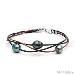 Bracelet de perles de culture de Tahiti Baroques 9-10 mm et Cuir