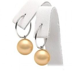 Boucles d'Oreilles Créoles Argent 925 Perles des Philippines Dorées