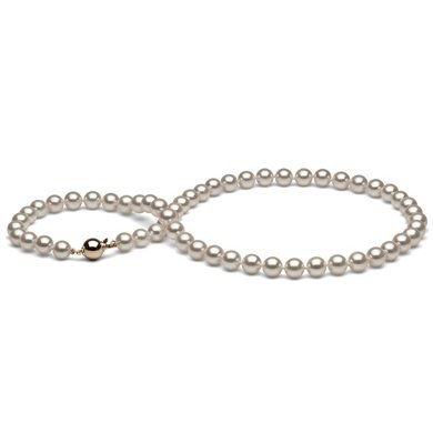 Collier 55 cm de perles Akoya blanches 7,0 à 7,5 mm