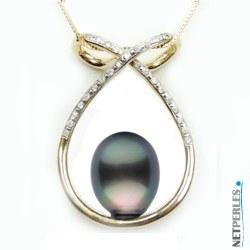 Pendentif perle de Tahiti Goutte AA+ Or 18 Carats et diamants