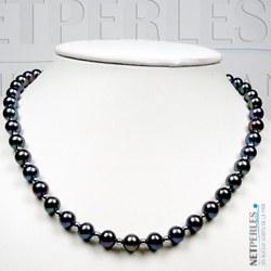 Collier perles noires d'eau douce 7 à 8 mm billes en Or Gris 14k