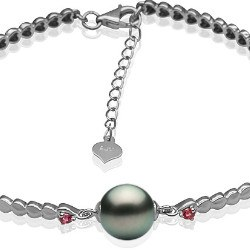 Bracelet en Argent 925 tourmalines rouges et perle de Tahiti 8-9 mm AAA