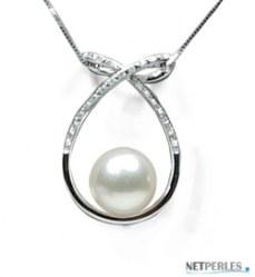 Pendentif Or 18 carats et Diamants et Perle de culture d'Eau Douce 10-11 mm