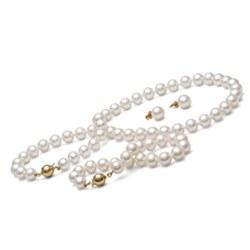 Parure perles d'Eau Douce 8 à 9 mm 45/18 cm 3 bijoux Collier, Bracelet, Boucles