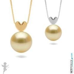 Pendentif coeur Or 14 carats avec Perle dorée des Philippines AAA