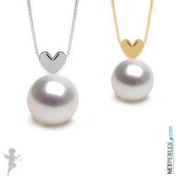 Pendentif coeur Or 14 carats avec Perle blanche d'Australie AAA