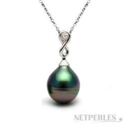 Pendentif Or et diamant, Perle de Tahiti Goutte AAA
