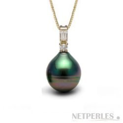Pendentif Or, diamants et perle Goutte de Tahiti
