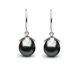 Boucles d'oreilles en Argent 925 perles de Tahiti Goutte 10-11 mm AAA